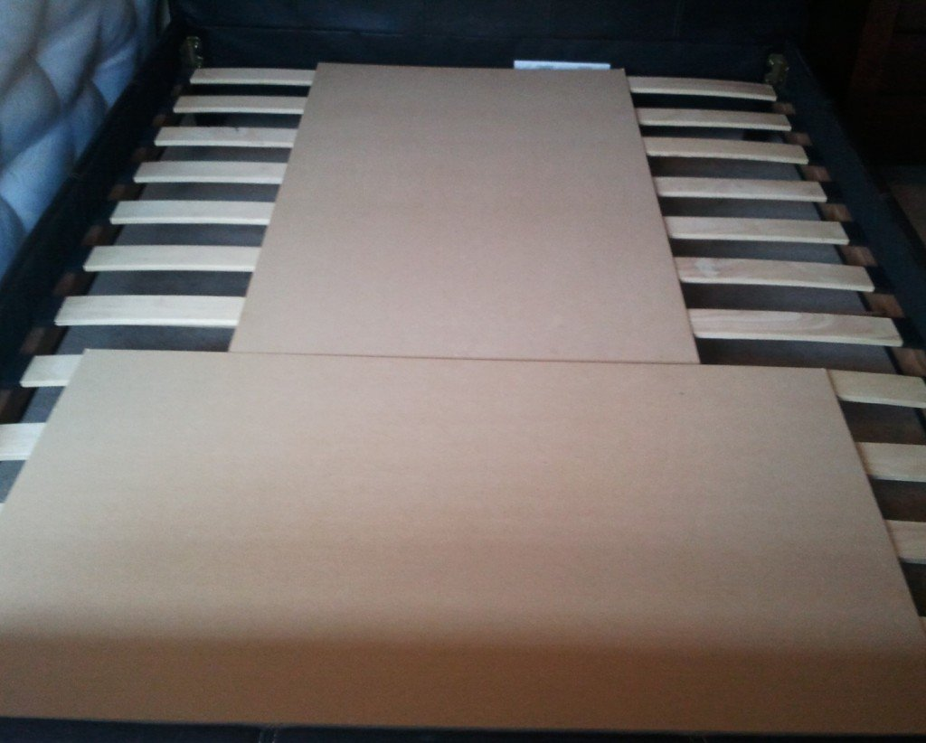 MDF sheets on Slatted base