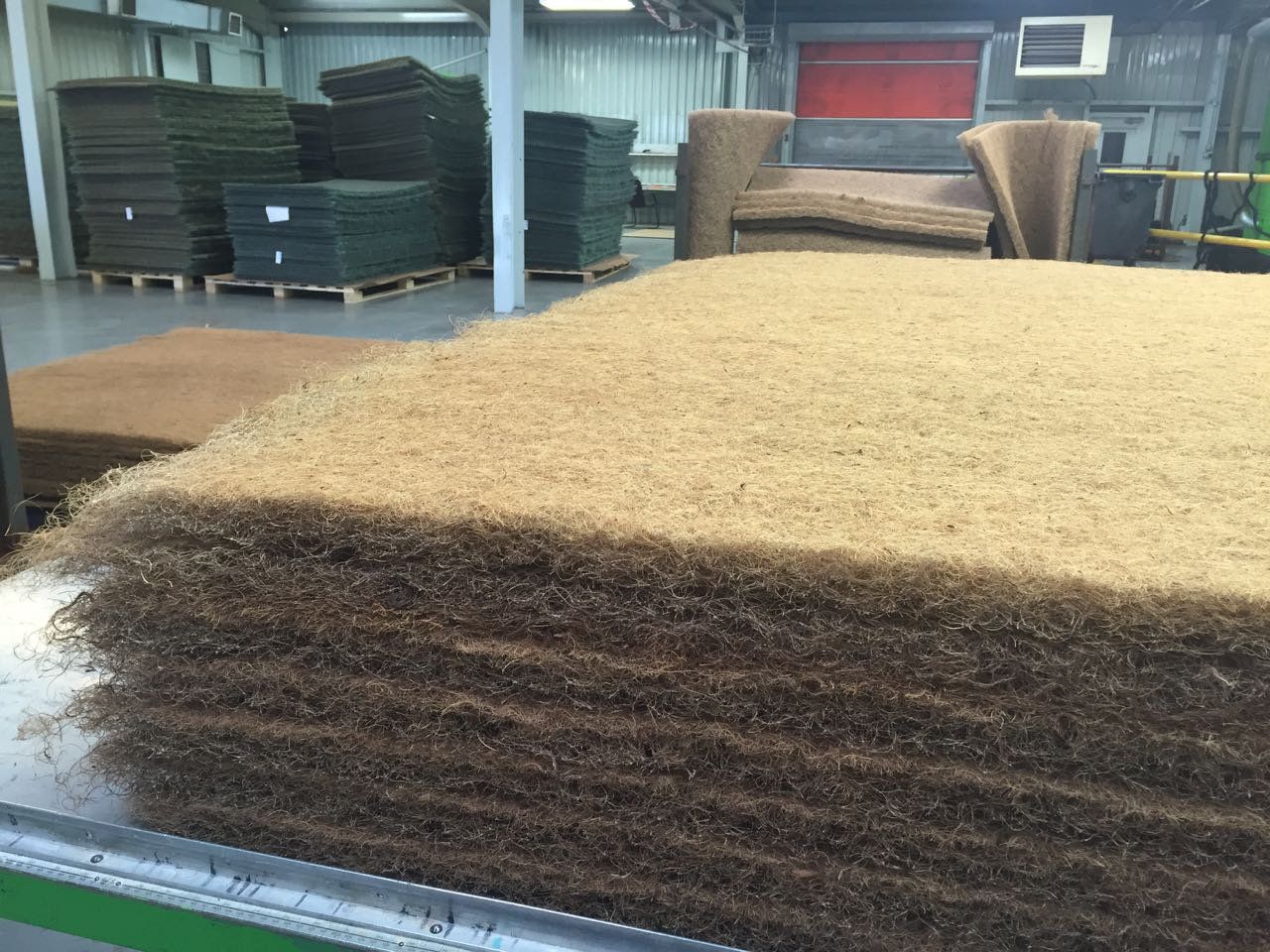 This is then unrolled and turned into high loft pads of fibre