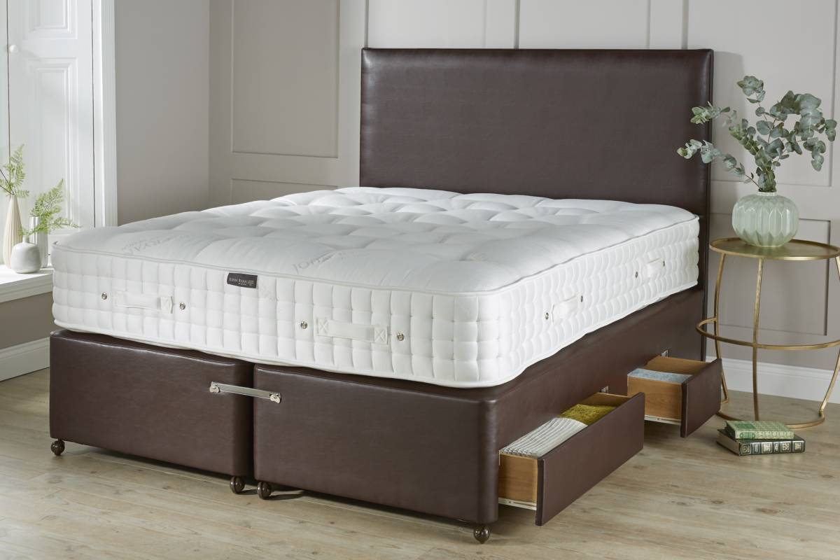 Brown Faux Leather Mattress Base With Drawers