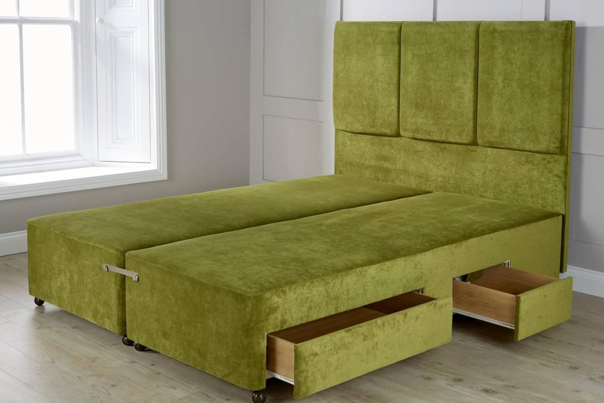 Green Chenille Sprung Mattress Base