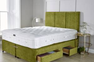 Green Chenille Mattress Base With Drawers