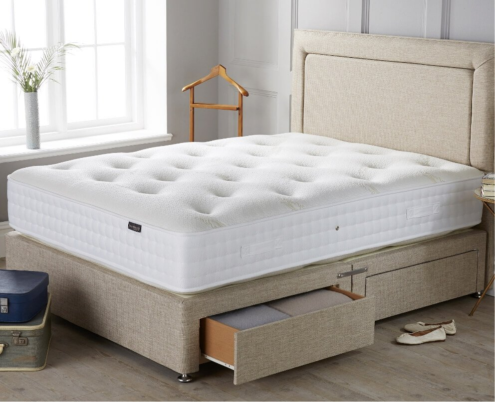 Origins Pocket 1500 mattress on Cocktail Straw Base with Forbes Headboard