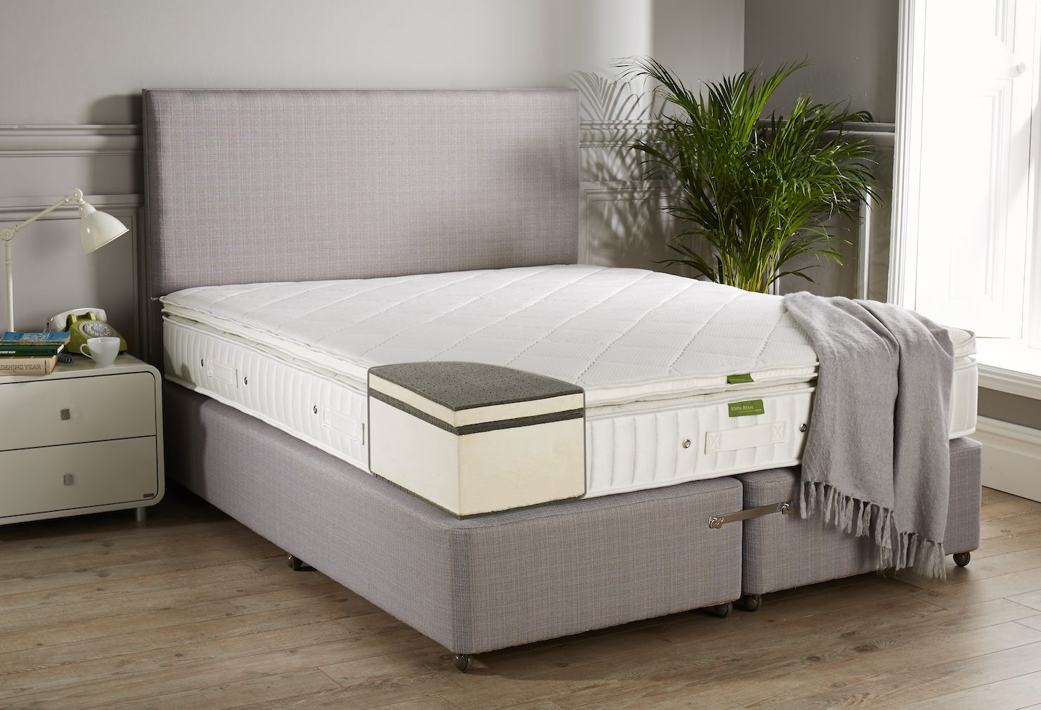 Fusion 3 mattress with Grey throw