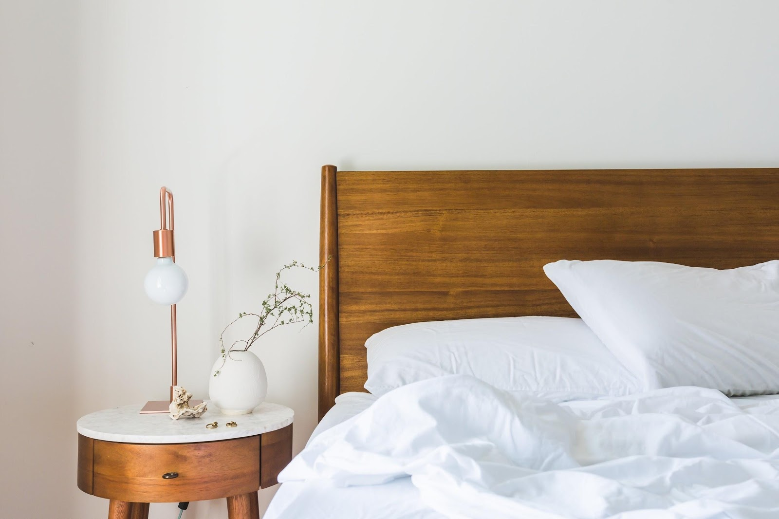 Natural sleep with wooden Headboard