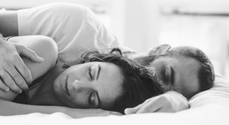 Luxury mattress feel with sleeping couple