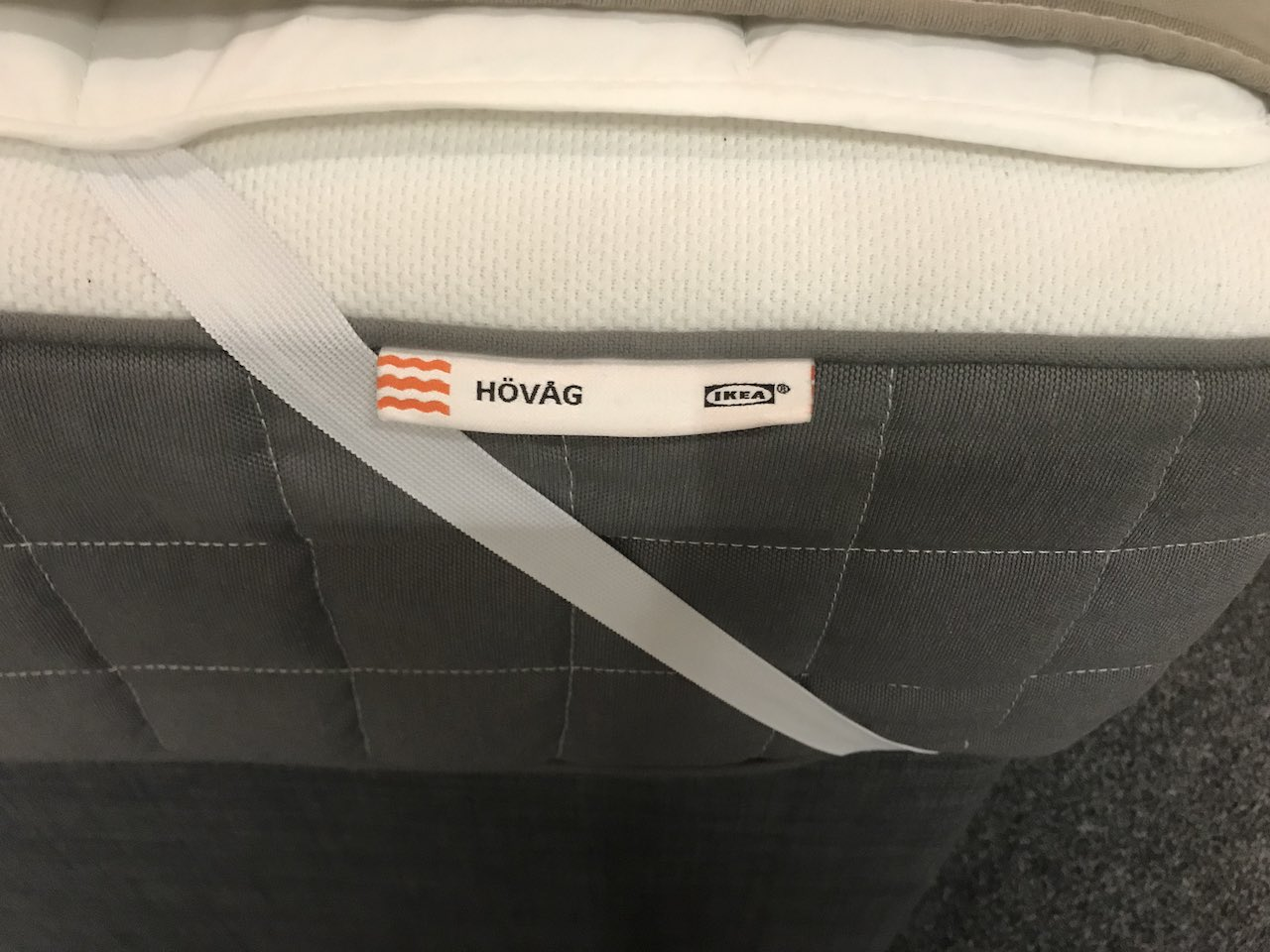 Side of a HOVAG Ikea Mattress