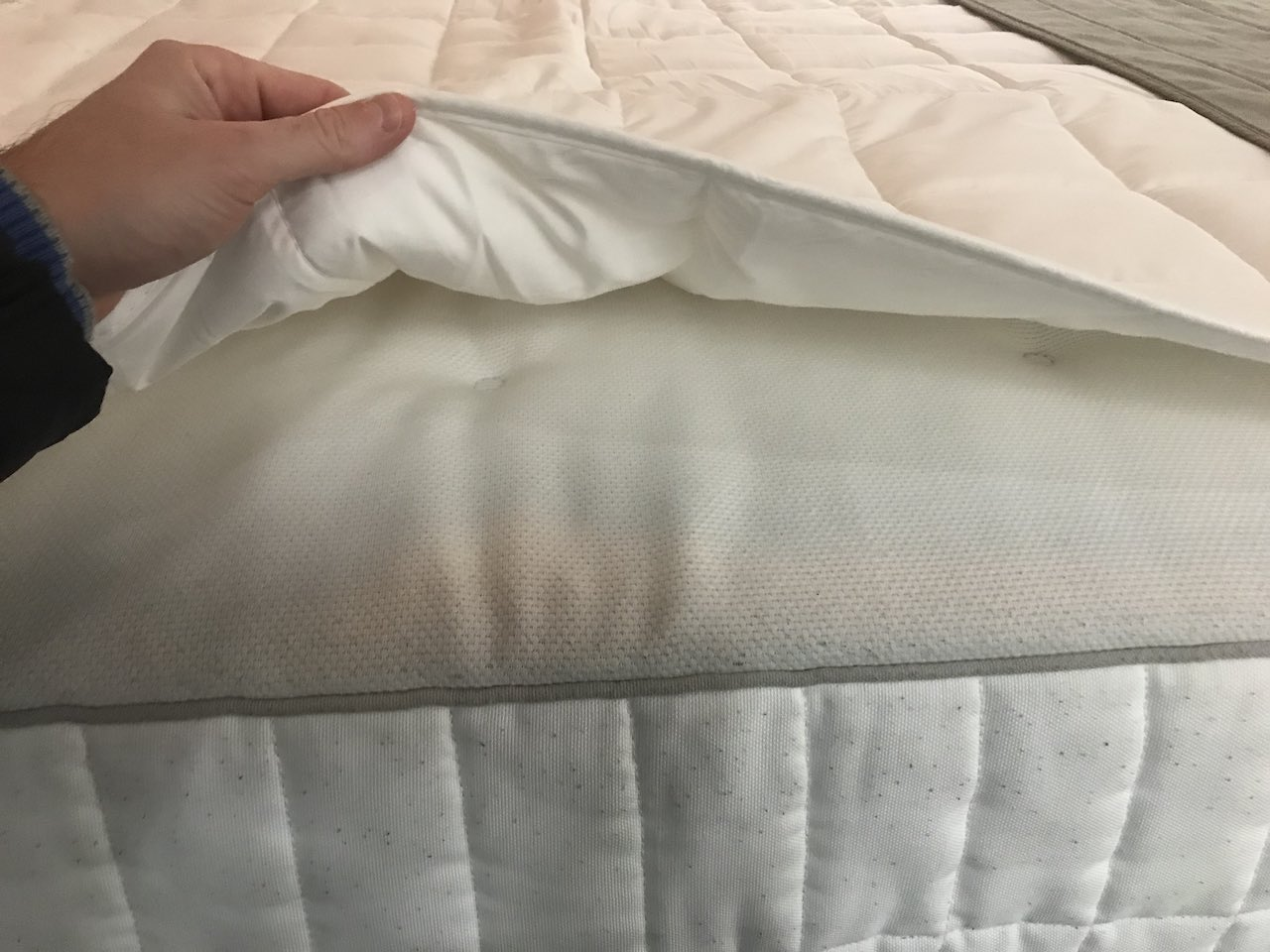 Mattress detailing being shown on an Ikea mattress