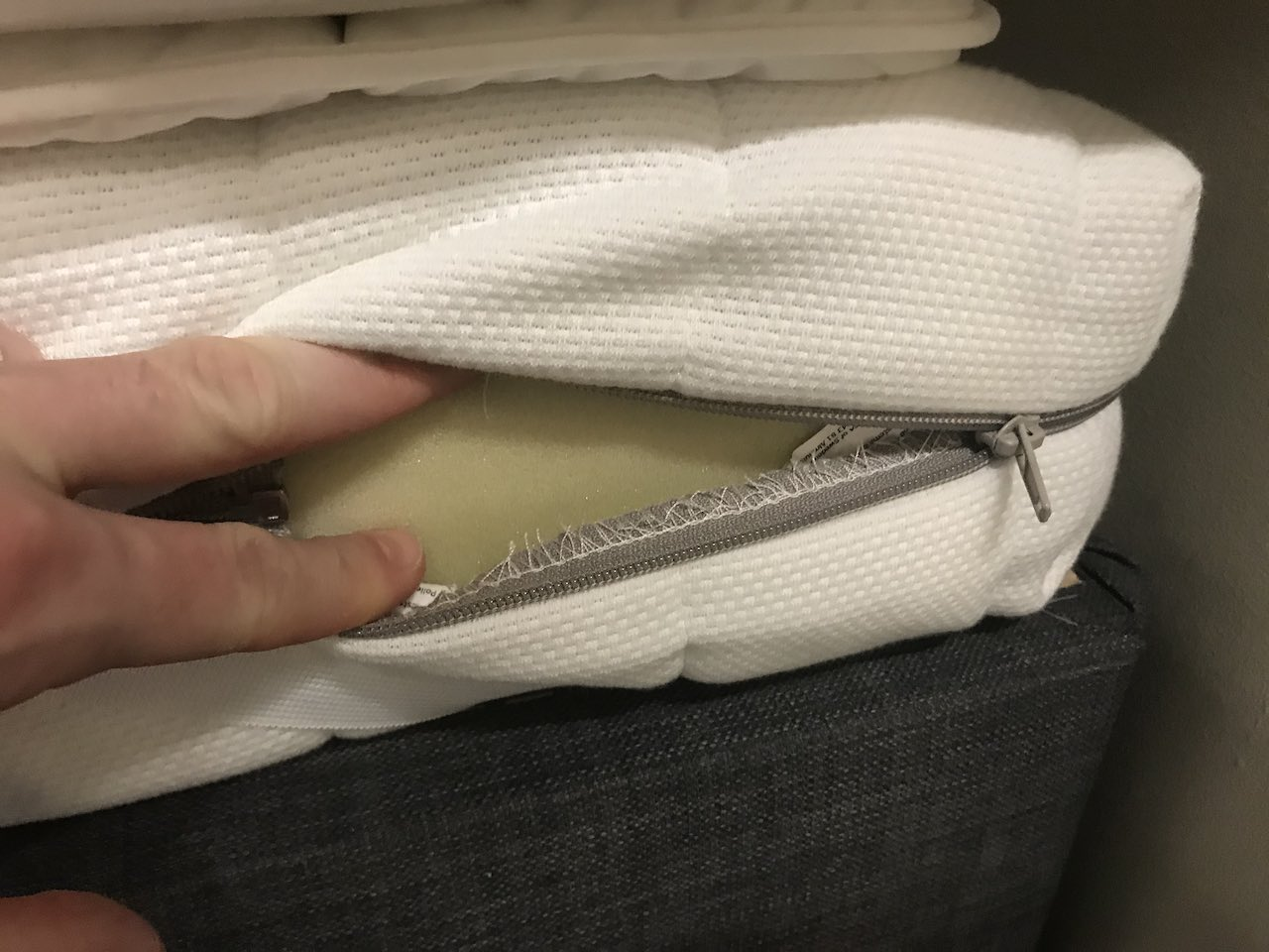 The foam inside an ikea mattress being shown