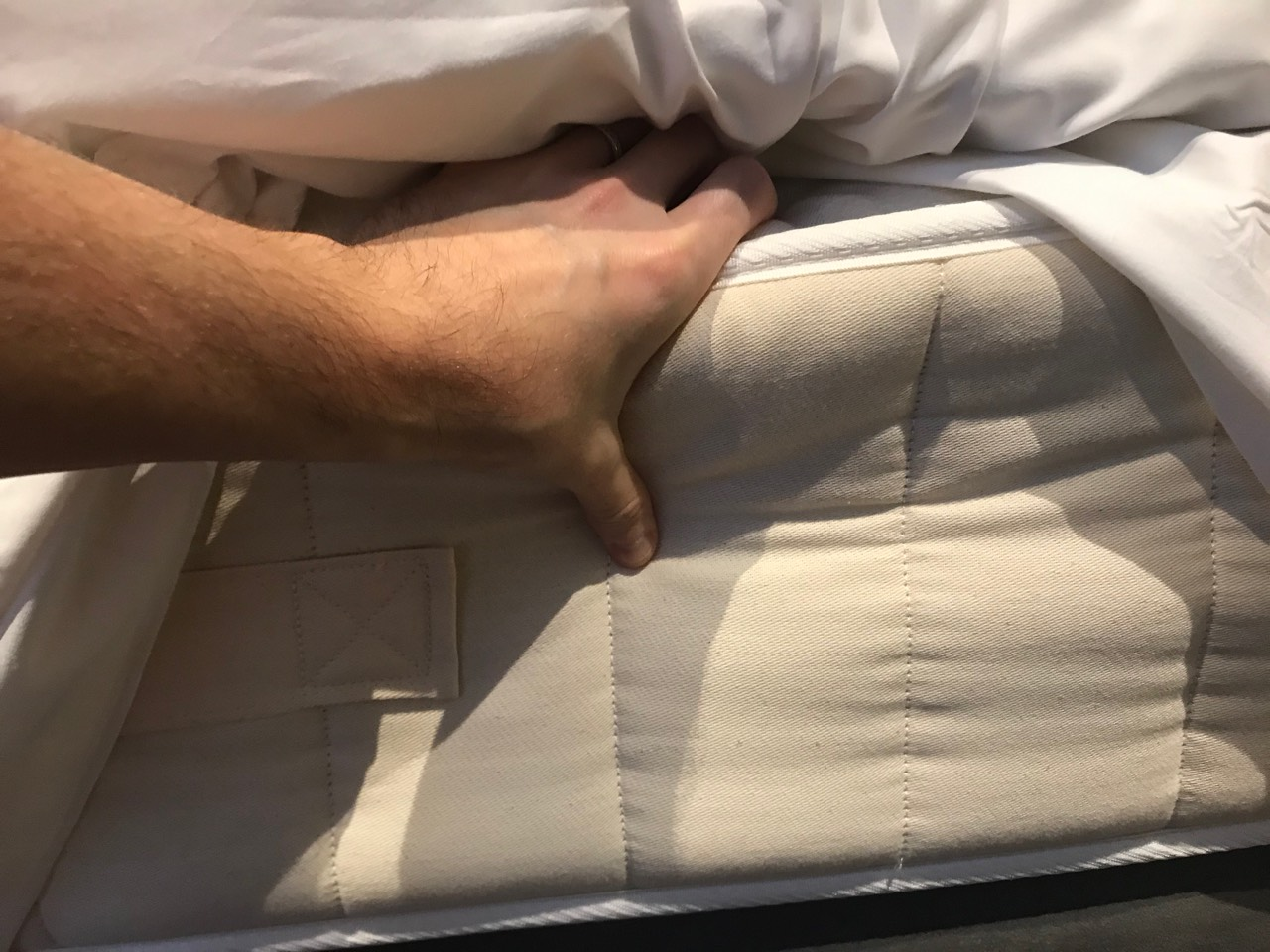Checking an open coil mattress