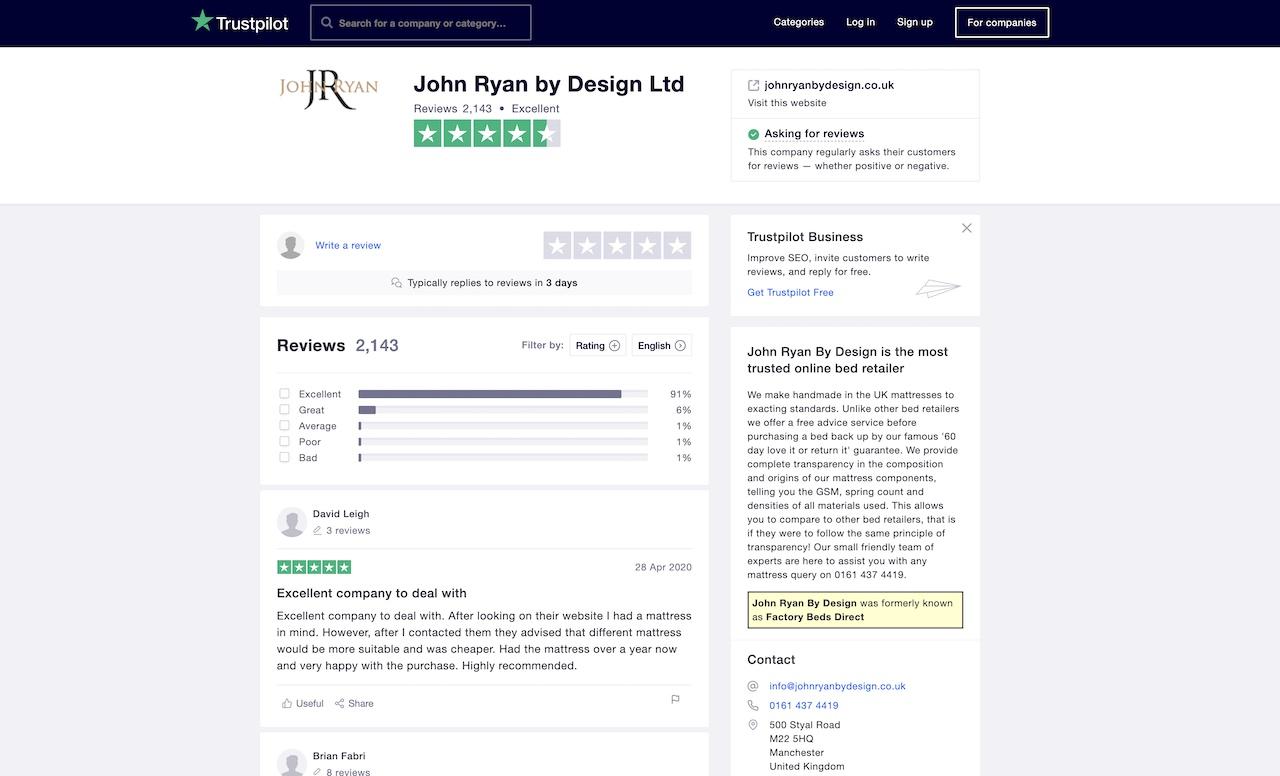 John Ryan By Designs Trust Pilot rating 5 star