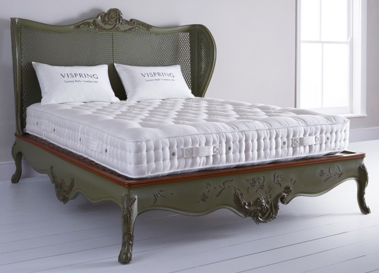 The Vispring traditional mattress on a bedstead